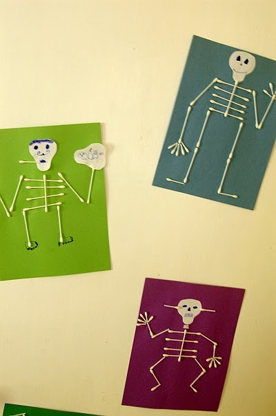 q tip skeleton craft template - little inspirations q tip skeleton