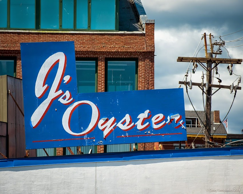 J's Oyster sign at Portland Pier in Portland, Maine August 2014 Summer photo by Corey Templeton