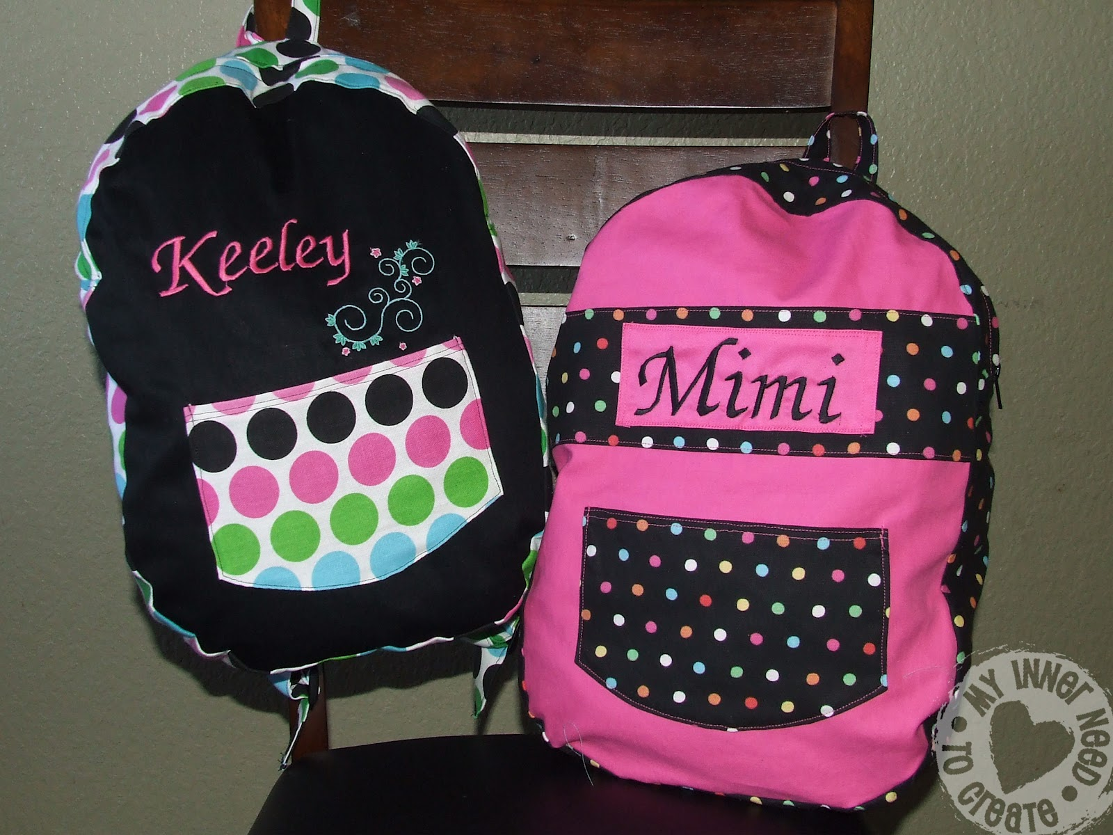 my inner need to create personalized kids backpack