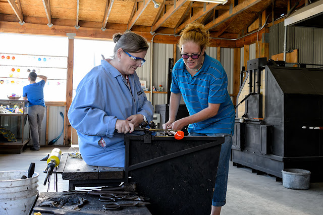 Making an ornament at Golden Glassblowing Experience - Skagway, Alaska