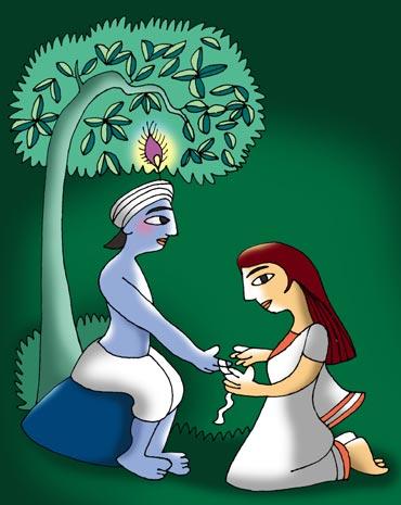 Krishana Cartoon Celebrating Rakhi Festival in Mathura Vanrindavan