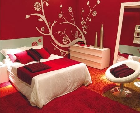 decor dormitorio rojo