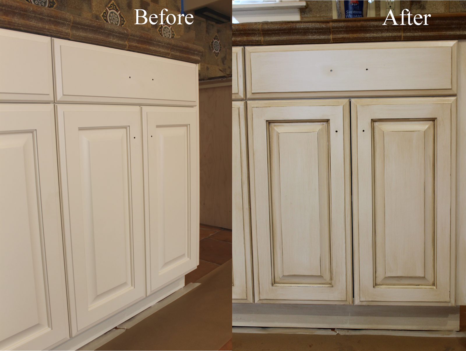 The ragged wren how to glazing cabinets for Antique painting kitchen cabinets ideas