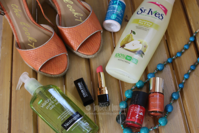 summer pick me ups pakistan beauty blog, St Ives revitalizing pear & soy body wash, the body shop peppermint cooling foot lotion, neutrogena visibly clear pore & shine, color studio pure matte missionary, rimmel salon pro hip hop, stageline tangerine