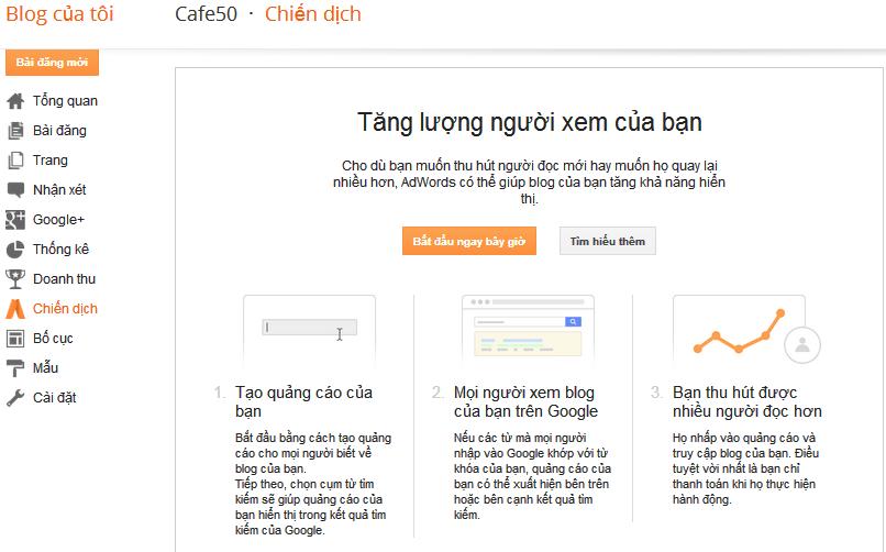 Blogspot thêm chạy chiến dịch ngay trong bảng điều khiển blogger
