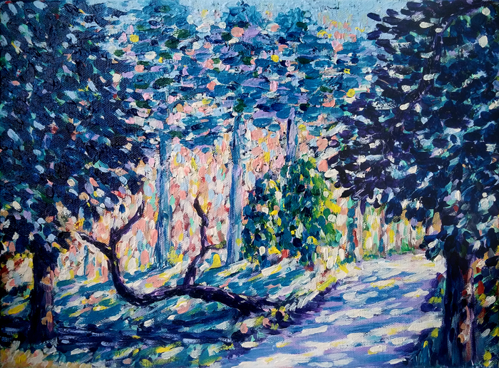 Impressionism Fauvism Expressionism Landscape Painting of the forest on canvas by Erki Schotter