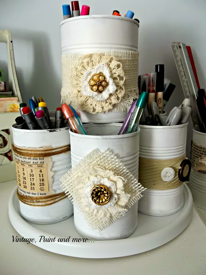 Tin Can Therapy - decorated tin cans with vintage lace and burlap