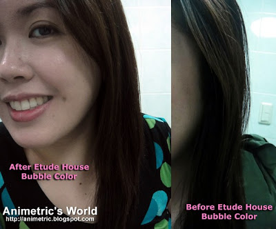 Before and after Etude House Bubble Hair Coloring in Natural Brown