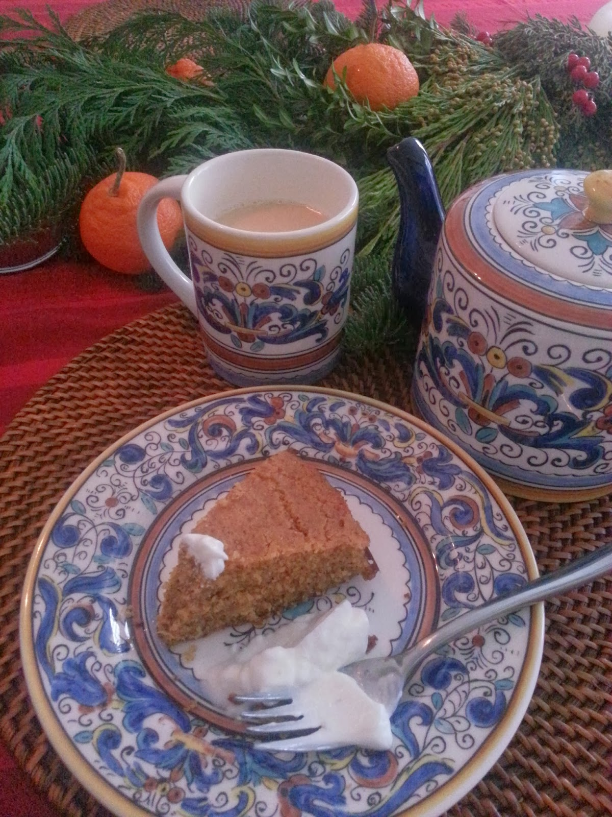Christmas Eve breakfast: polenta-almond-orange cake  |  Red-eyed revelry on afeathery*nest  |  http://afeatherynest.blospot.com