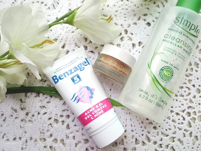a picture of Most Repurchased Skincare Products ; Benzagel 5, Simple Micellar Cleansing Water, Nuxe Reve de Miel Lip Balm