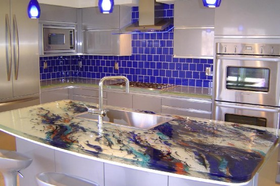 Glass Kitchen Countertop Ideas 554 x 367