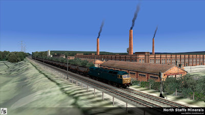 Fastline Simulation - North Staffs Minerals: A Class 47 hauled southbound MGR from Trentham Colliery passes Josiah Wedgewoods works.