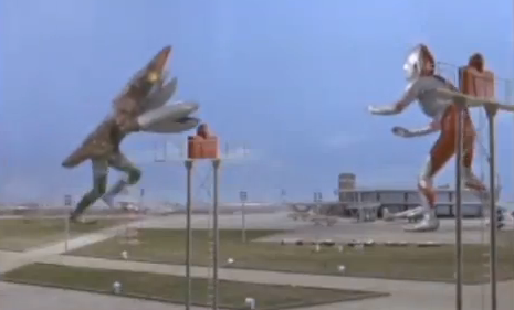 Original Ultraman Fighting a Giant Alien Monster Retro Ultraman