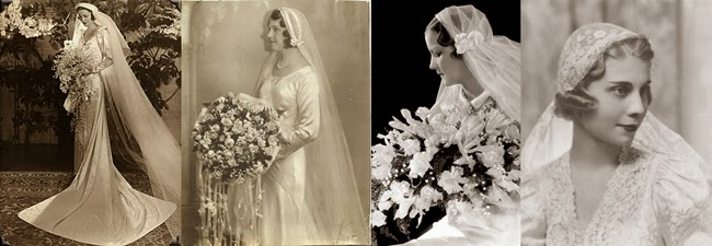 1930s wedding bouquets and bridal veils