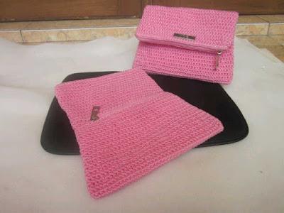 Model Dompet Rajut Murah Warna Pink