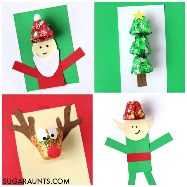 Handmade Christmas cards using chocolate bell candies are fun and creative. Kids can make them at a card making holiday party!
