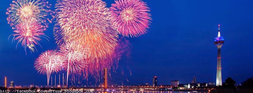 Couverture facebook HD d'un feu d'artifice