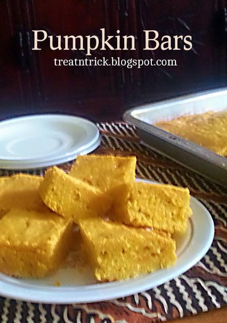 Pumpkin Bars Recipe @ http://treatntrick.blogspot.com