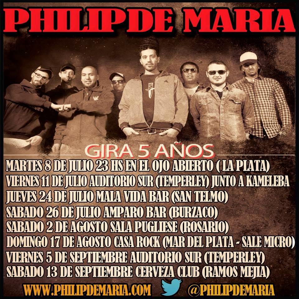 Phillip de María 5 años, gira, conciertos