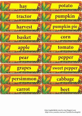 fall English vocabulary flashcards