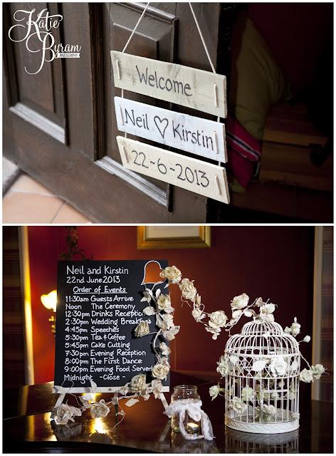ellingham hall, ellingham hall wedding, northumberland wedding photographer, newcastle wedding photographer, ceremony signs, paper pom poms, quirky wedding photography, katie byram photography, diy wedding