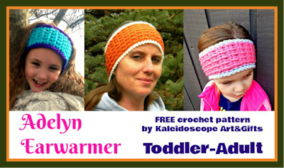 Adelyn Earwarmer FREE #crochet pattern by #KaleidoscopeArtnGifts for the #HolidayStashdownCAL2015