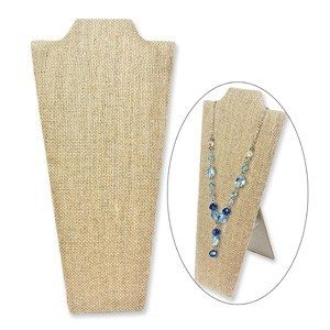 Linen Covered Padded Wood Necklace Display with Easel