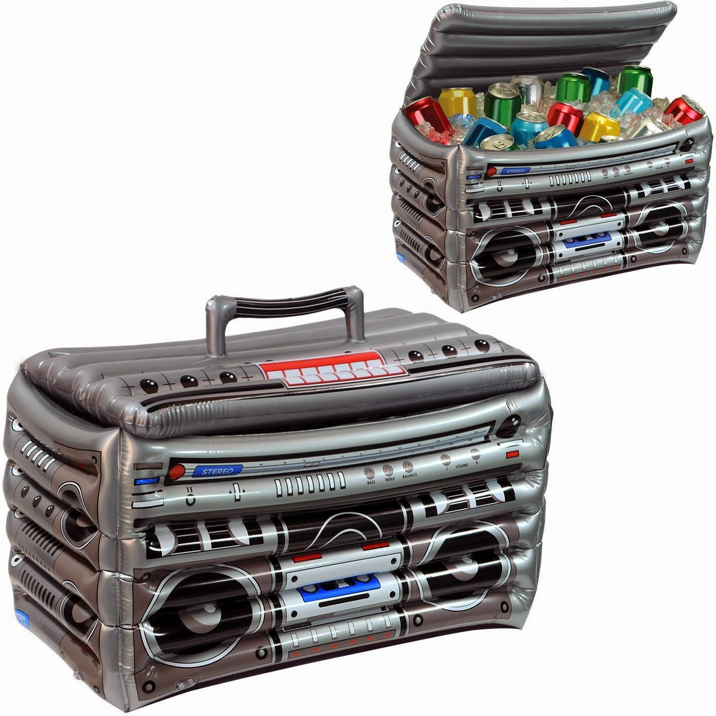 Be the life of the party with this fun inflatable Boom Box cooler which would be a great centerpiece at your next picnic, party or get together.