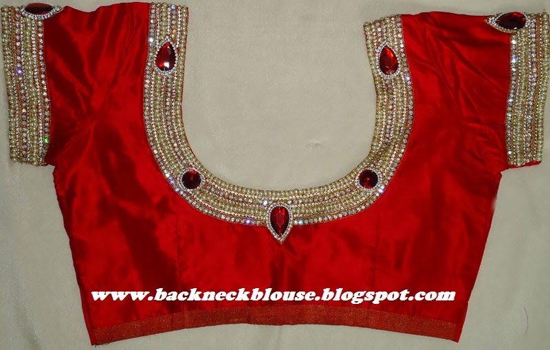 STONE WORK RED COLOUR DESIGNER BLOUSE