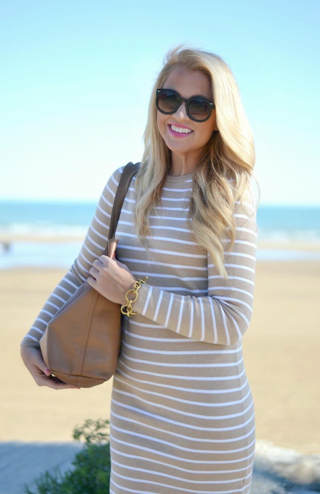 tan and white striped long sleeve dress