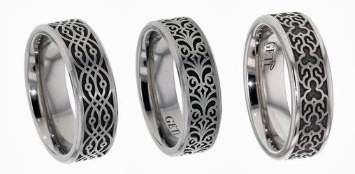 Baroque Wedding Rings in Titanium