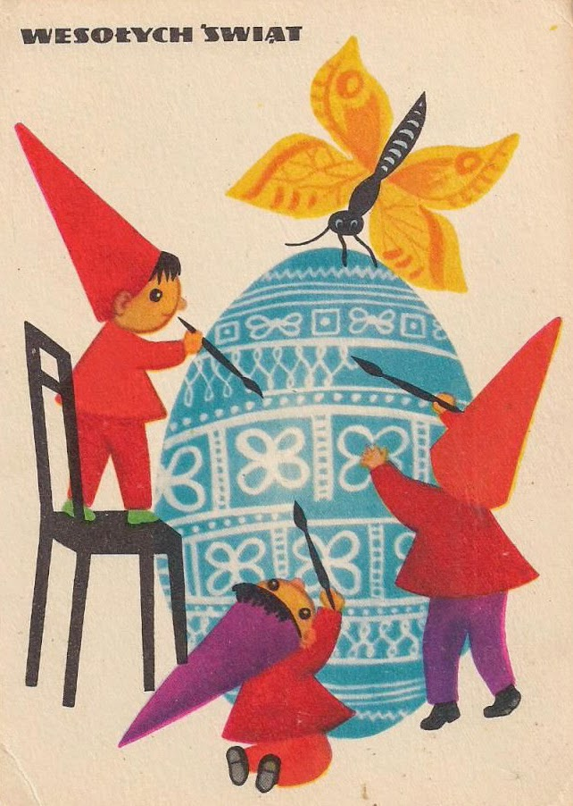 vintage Polish Happy Easter illustration kids painting an egg