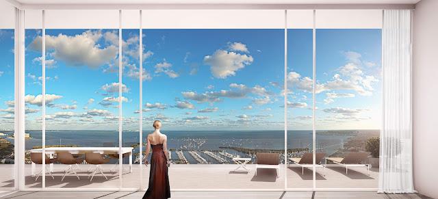 Renderizado de un ambiente de apartamento con vista al mar
