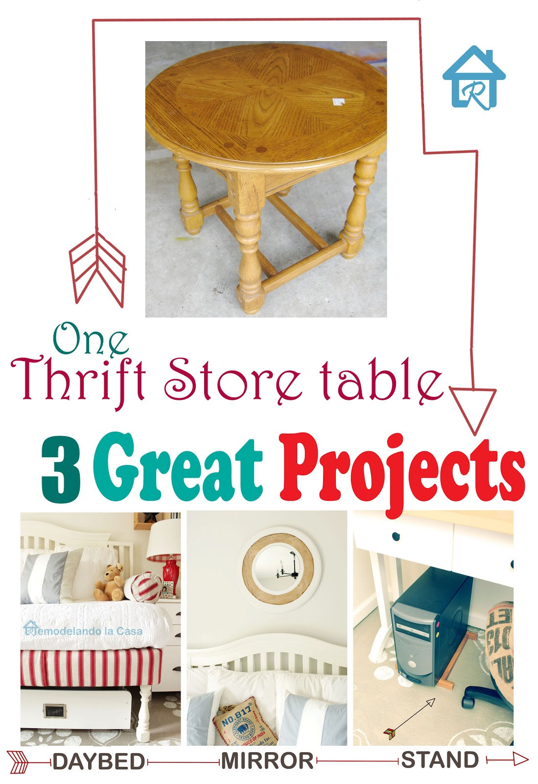 one side table is repurposed in three ways, mirror, daybed legs and shelf