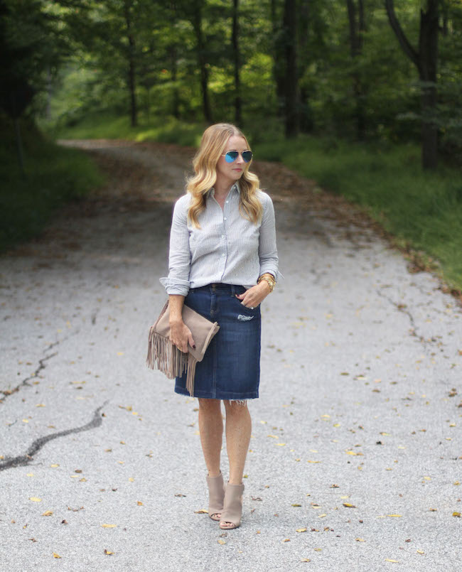 jcrew shirt, denim skirt, vince booties, mango clutch, ray ban sunnies