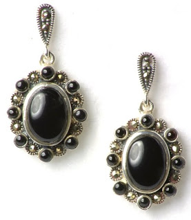 silver drop earrings black