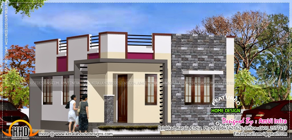 Very small flat roof single storied house home kerala plans Small flat roof house