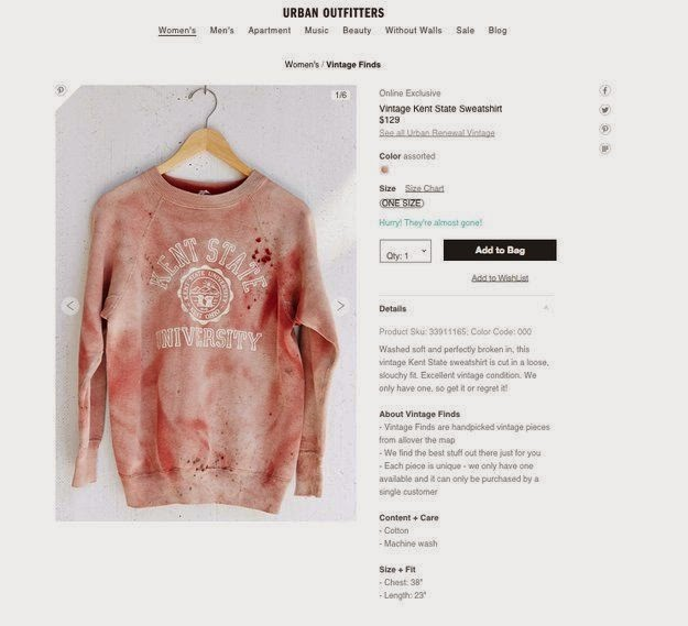 Fashion Law subject: Urban Outfitters Kent State Bloodstain Sweatshirt