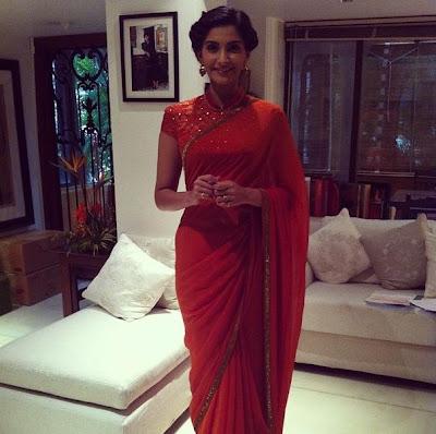 Sonam Kapor @ BMB promotion in Anamika Khanna &  Tarun Tahiliani dress