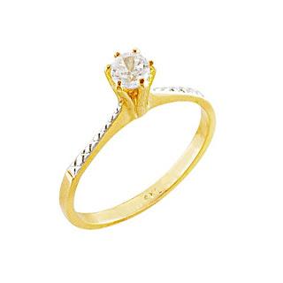 anel folheado a ouro com zirconia