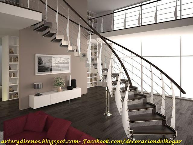 Dise o de barandas para escaleras decoraci n del hogar for Salones con escaleras interiores