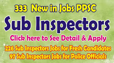 Sub Inspectors Jobs through PPSC
