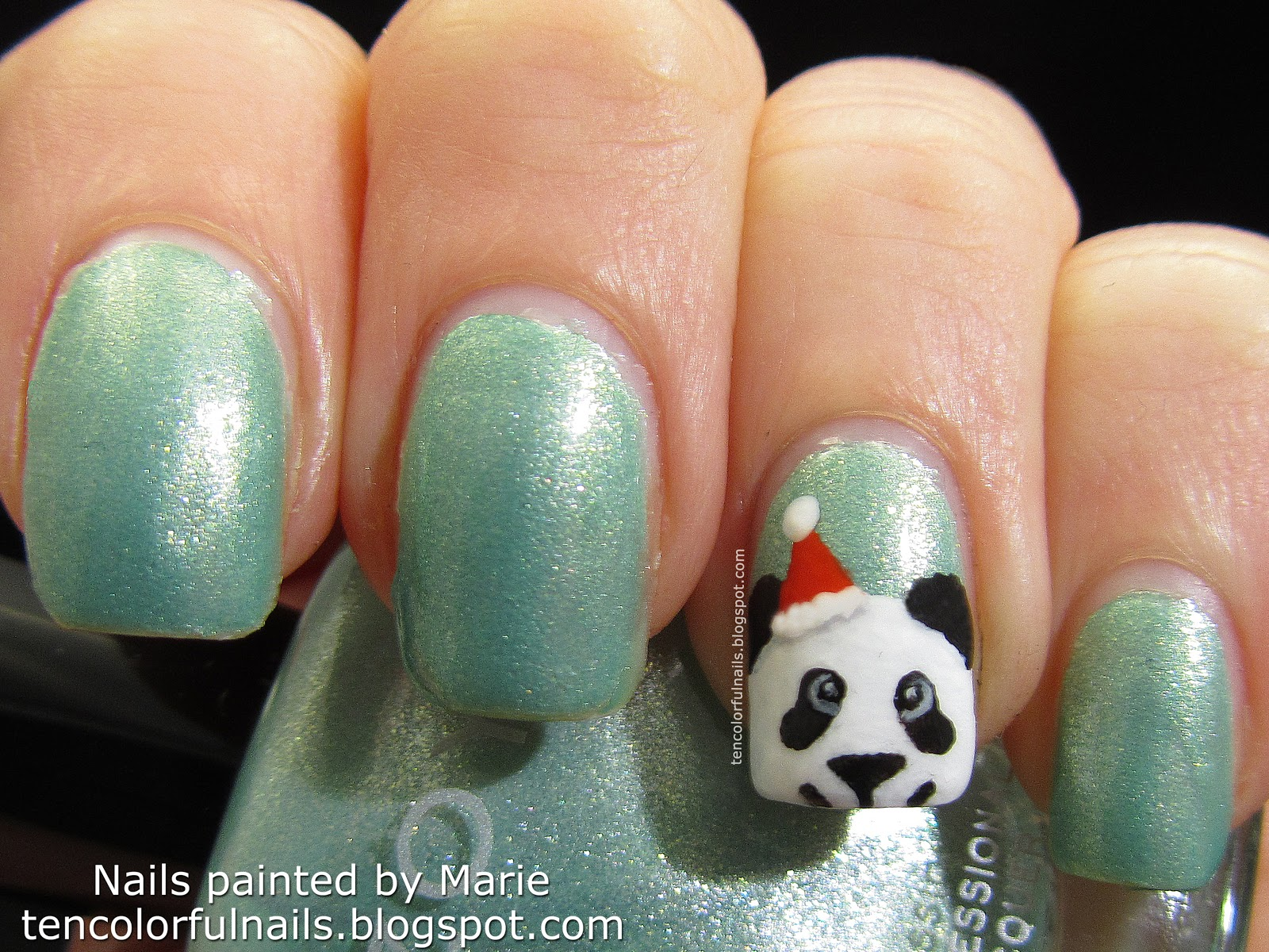 Ten colorful nails christmas panda nail art tutorial christmas panda nail art tutorial prinsesfo Image collections