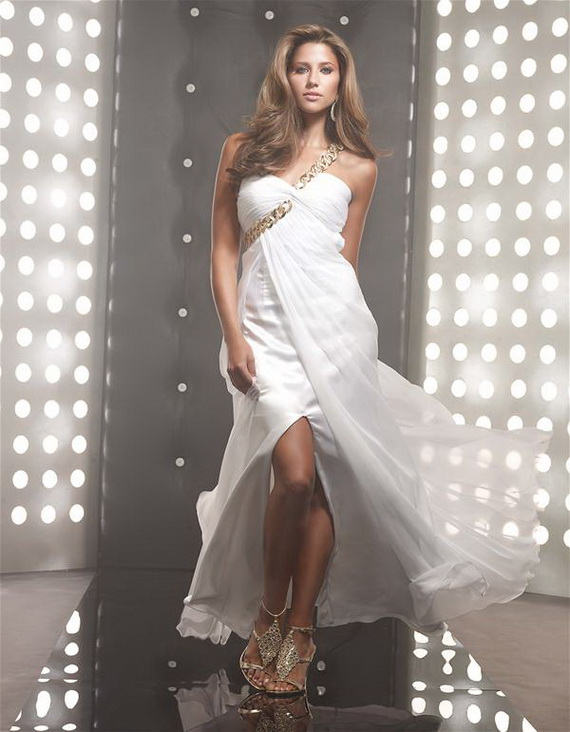 one shoulder white long split prom dress