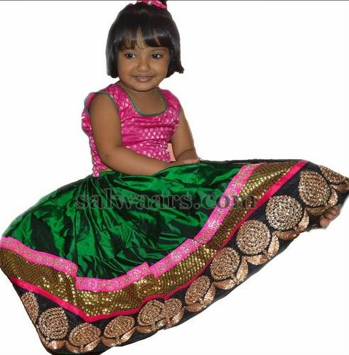 Baby in Green Pure Silk Lehenga