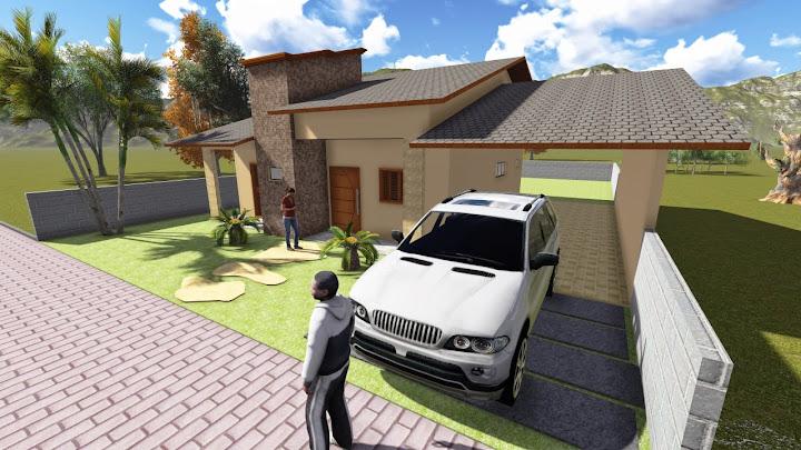 Fachada frontal de casa moderna com suíte e closet