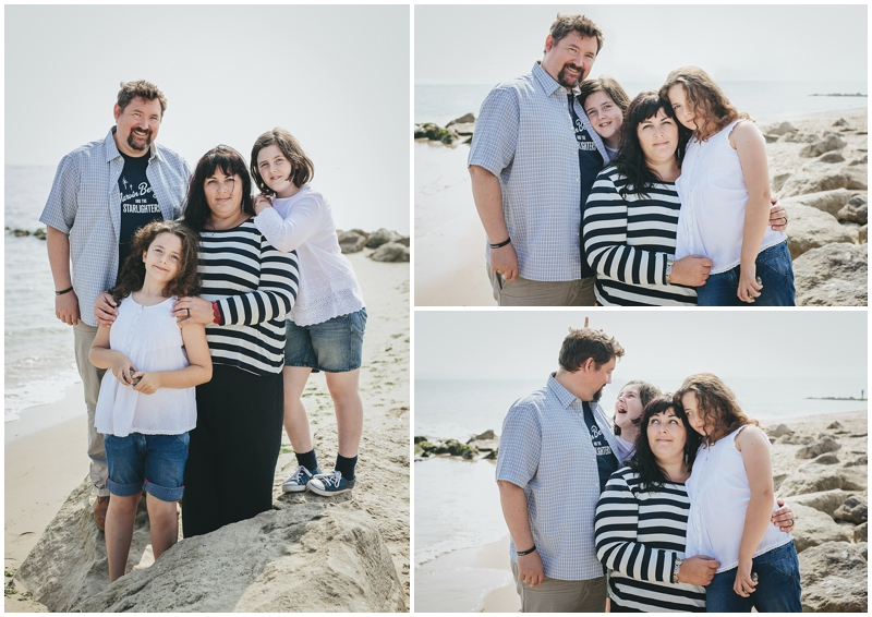 Family group portraits on the beach