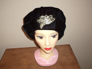 black velvet edwardian cloche hat with brooch by helen's hatbox helen marshall