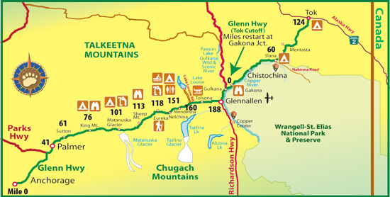 Maps Of Alaska Roads By Bearfoot Guides Map Of The Glenn Highway