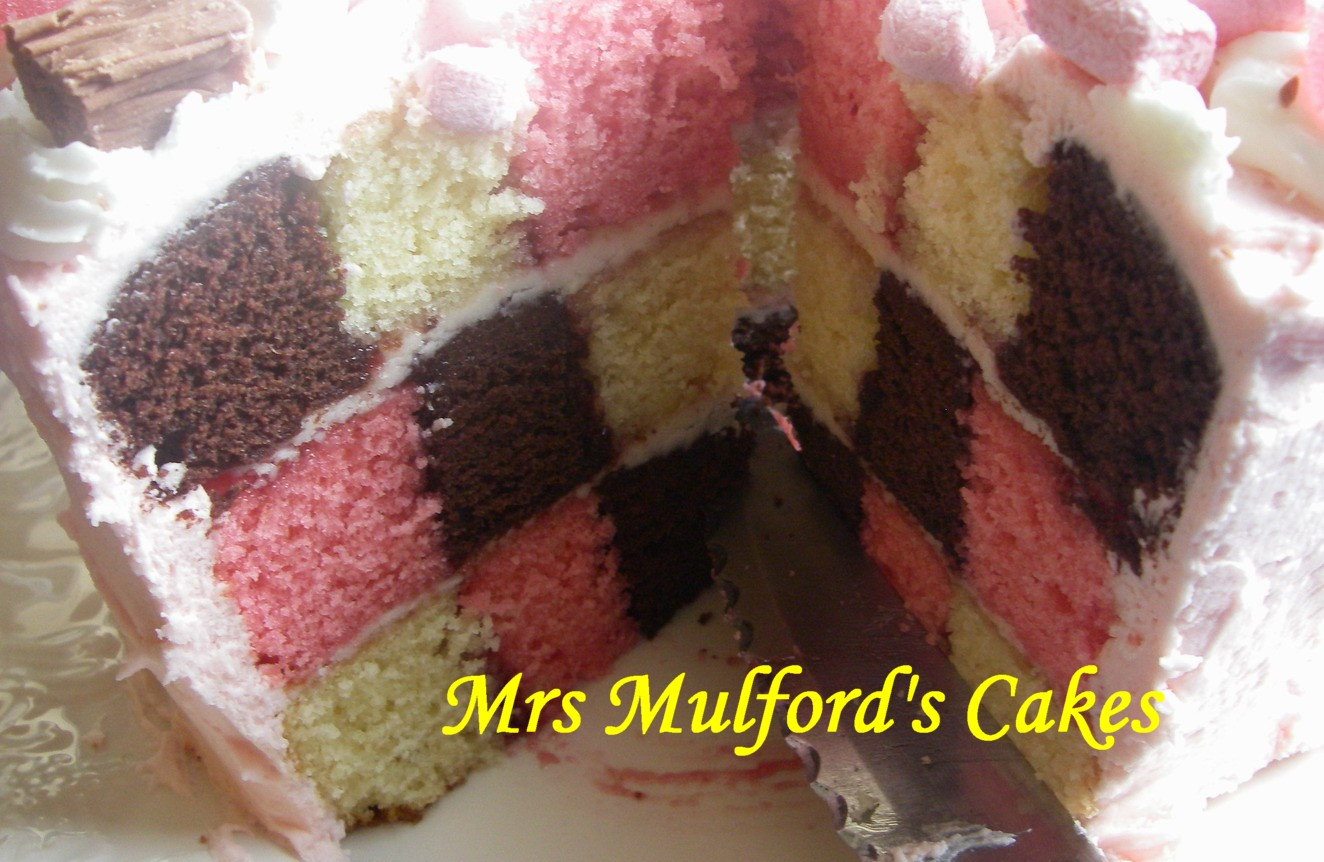 Pink Checkerboard Cake